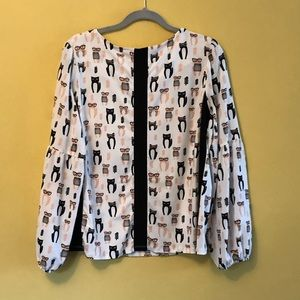 Next Tops - Cute Cats in Glasses blouse